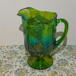 Indiana Carnival Glass Vintage Green Pitcher EUC